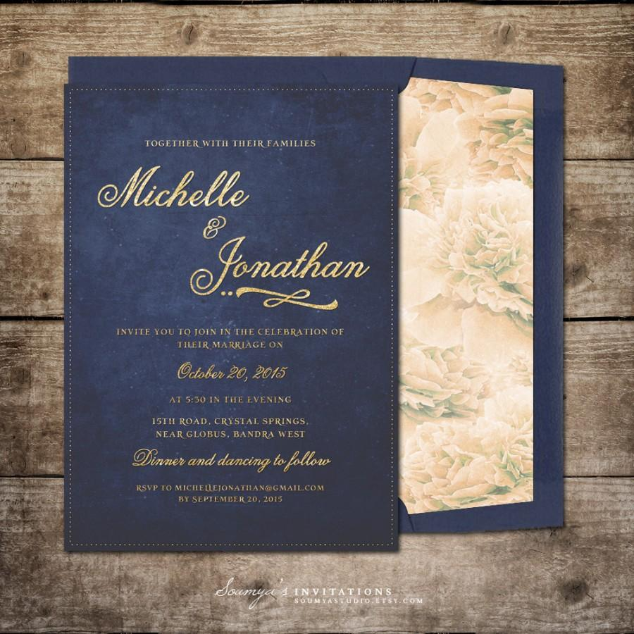 Navy Blue And Gold Wedding Invitation Printable Glitter Rustic Chic Fl Invite