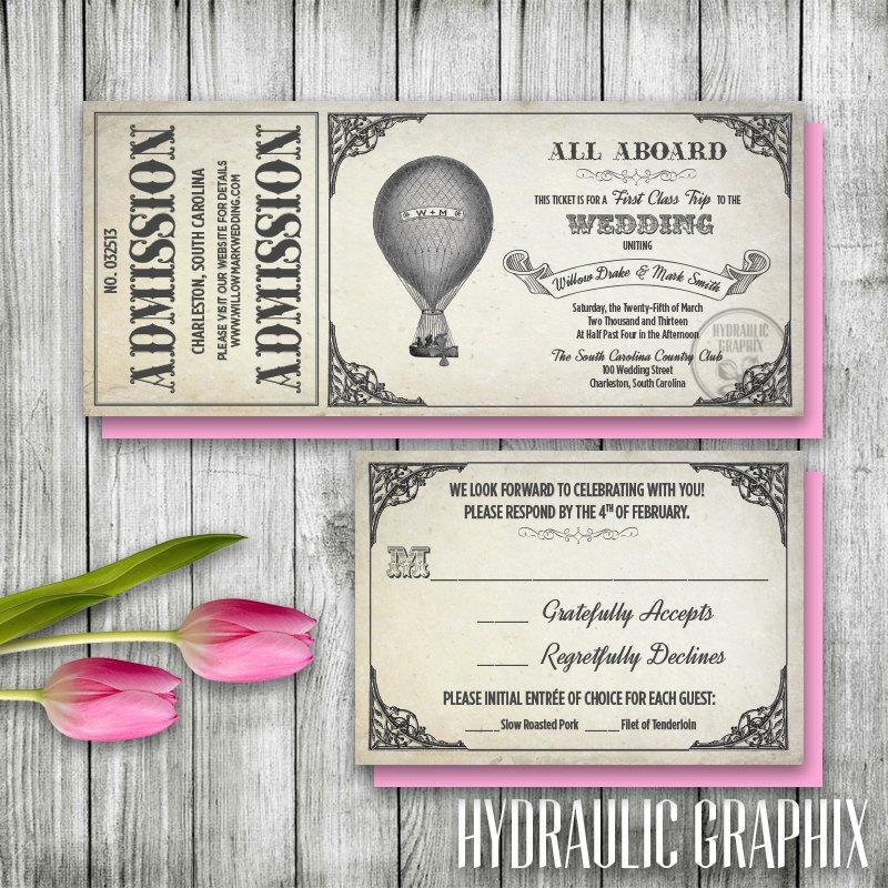 زفاف - Hot Air Balloon Invitation Set, Printable Ticket Invitation, Wizard of Oz Wedding theme, Vintage Antique Wedding Theme, Steampunk Wedding