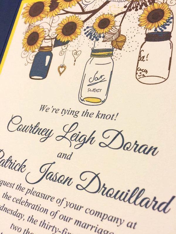 Sunflower Wedding Invitation Pocketfold Set Mason Jar Wedding – Sunflower Wedding Invitations Kits