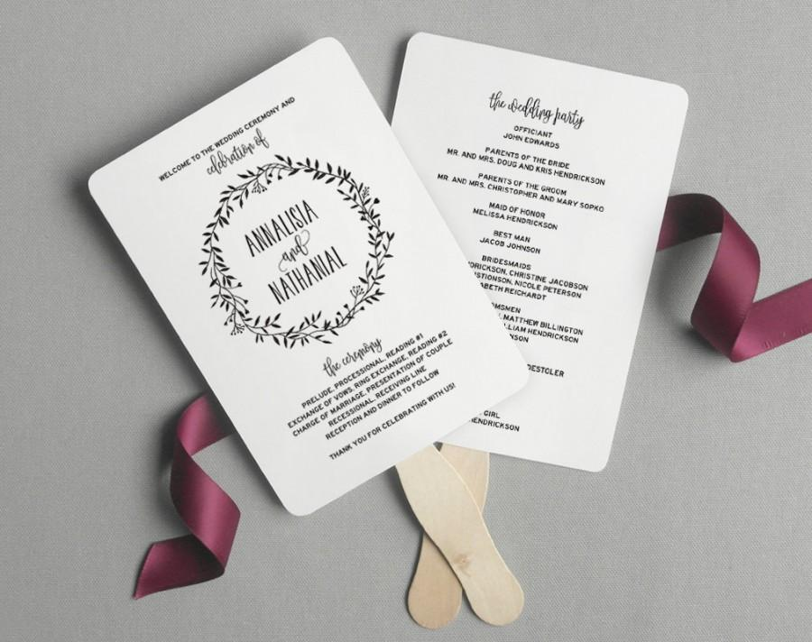 Wedding Program Fan Printable Rustic Ceremony Template Diy Pdf Instant