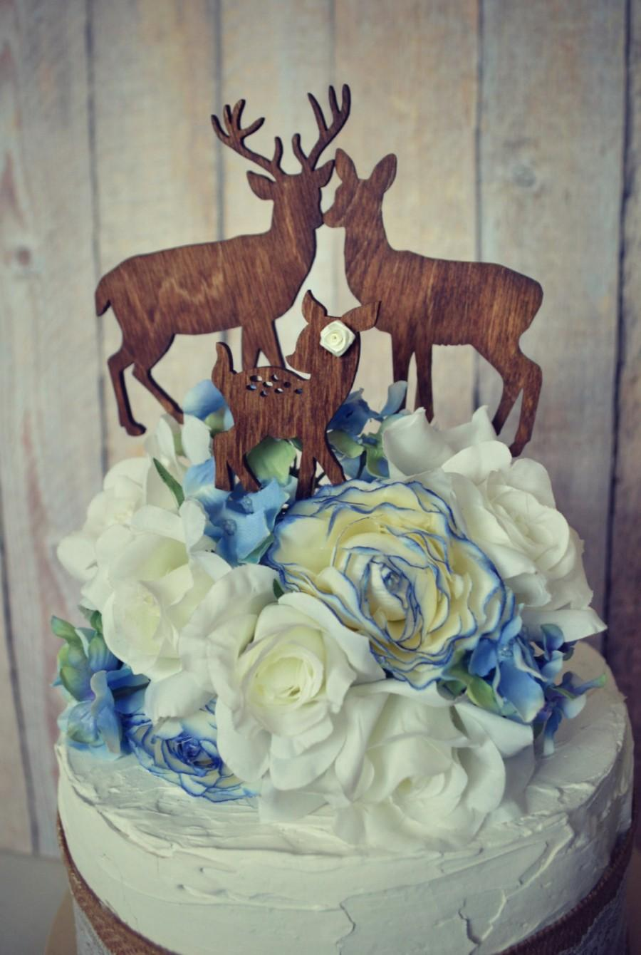 Hochzeit - Deer family wedding cake topper deer silhouette wood hunting groom hunter camouflage themed bride groom topper buck doe fawn antlers rack