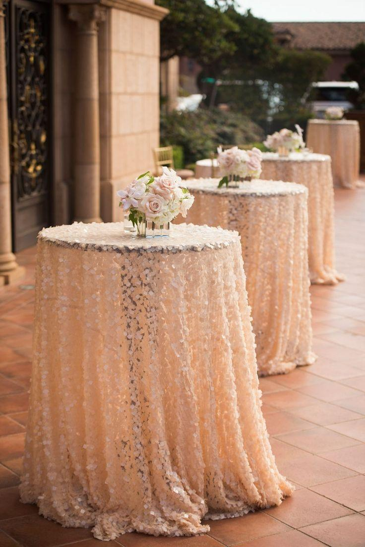 Hochzeit - Reception Décor Photos - Sequin Cocktail Hour Tables And Centerpieces