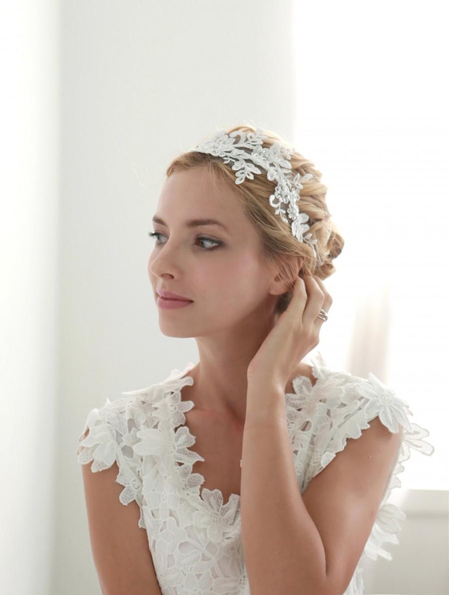 Свадьба - Lace wedding headband, bridal lace headband, floral lace headband, bridal heapiece - style 207