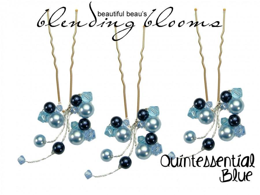 Hochzeit - Powder Blue, Aquamarine, Midnight Blue Hair Pin wedding hair accessory, bridal hair accessory, bridesmaid hair accessory wedding hair grip