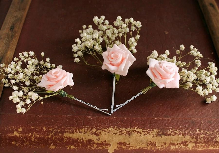 Wedding - Bried Baby's Breath & Pink Rose Bobby Pins, Rustic Hair Piece Boho Hair Clips, Woodland Hair Pins, Wedding Bobby Pins, Pink Rose Hair Pins