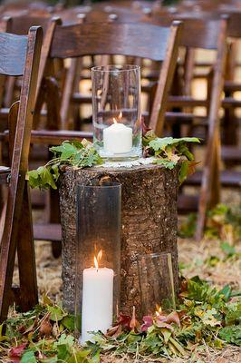 DIY Wedding Ideas. Tree Stumps And Leaves For A Fall Wedding Aisle ...