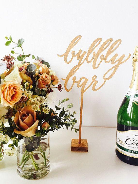 Wedding - Bubbly Bar Wood Laser Cut Bar Standing Signs