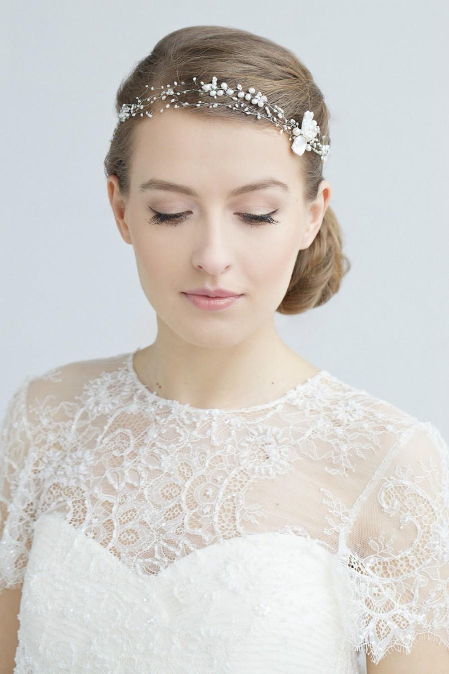 Bridal hair accessories babys breath - Bridal Pearl Headband Wedding Hair Accessory Wedding Pearl Headband Baby S Breath Hair Piece Wedding Bohemian Headpiece