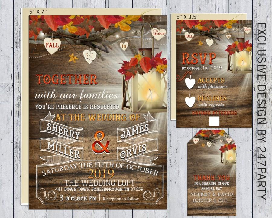 Hochzeit - Fall In Love Rustic Fall Lantren Wedding Invitation Matching RSVP & Thank You Tag DIY Printable Digital Files Exclusive Design set 0010