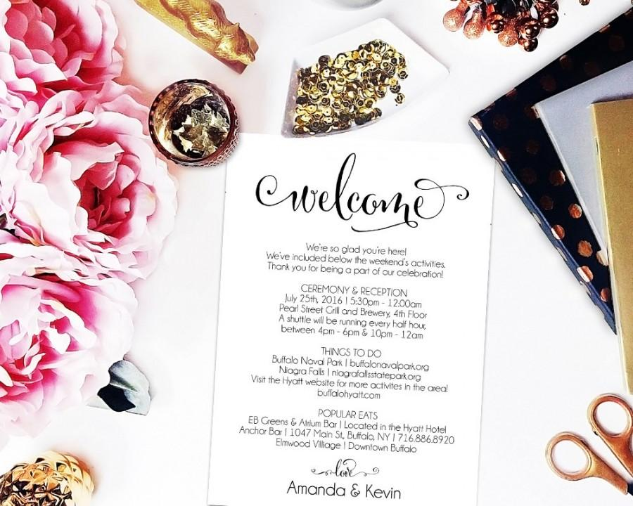 Mariage - Wedding Itinerary, Printable Itinerary, Wedding Welcome Bag, Editable Itinerary, Wedding PDF, DIY, Welcome Box, WBWD4