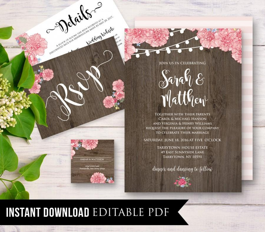 Mariage - Rustic Wedding Invitation Template, Instant Download, Wood Floral String Light, DIY Printable Wedding Invite Set, Editable PDF, Digital #019