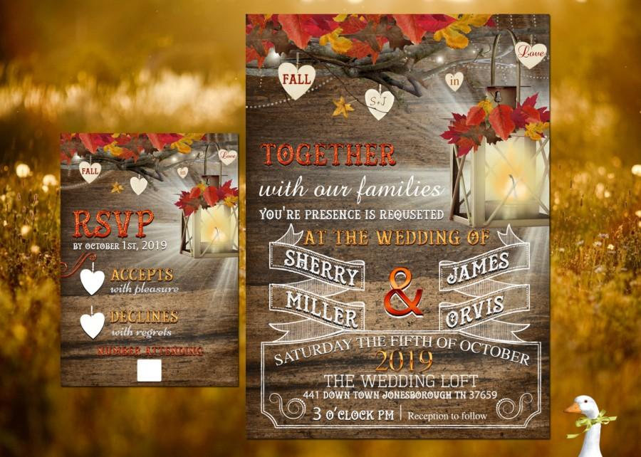 Mariage - Wedding Invitation/Response Card - 100 Professionally Printed Invitations & Response Cards Fall In Love Rustic Fall Lantren  Matching RSVP