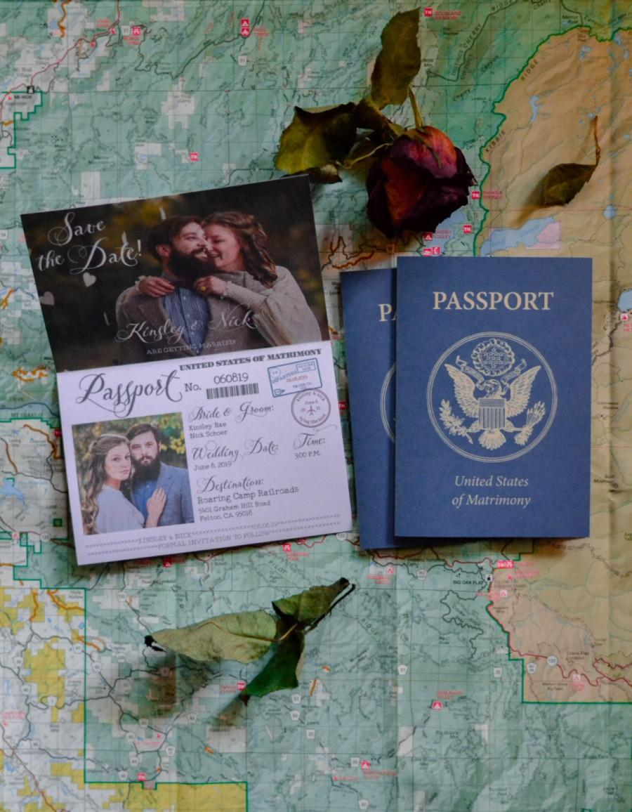 زفاف - Vintage Wedding Passport Style, Save the Dates! Printable Design, Fully Customized with Your Wedding Details! Travel Theme, Something Blue