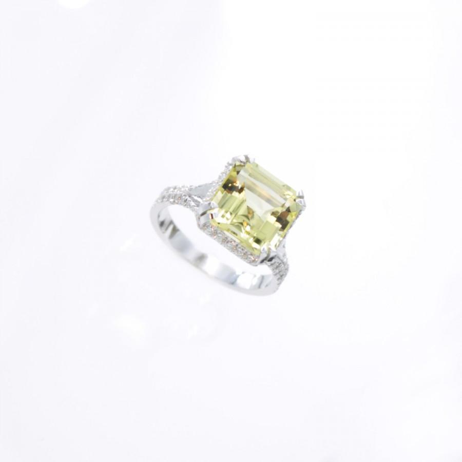 14k asscher cut lemon quartz promise rings 14k white gold for Quartz wedding rings