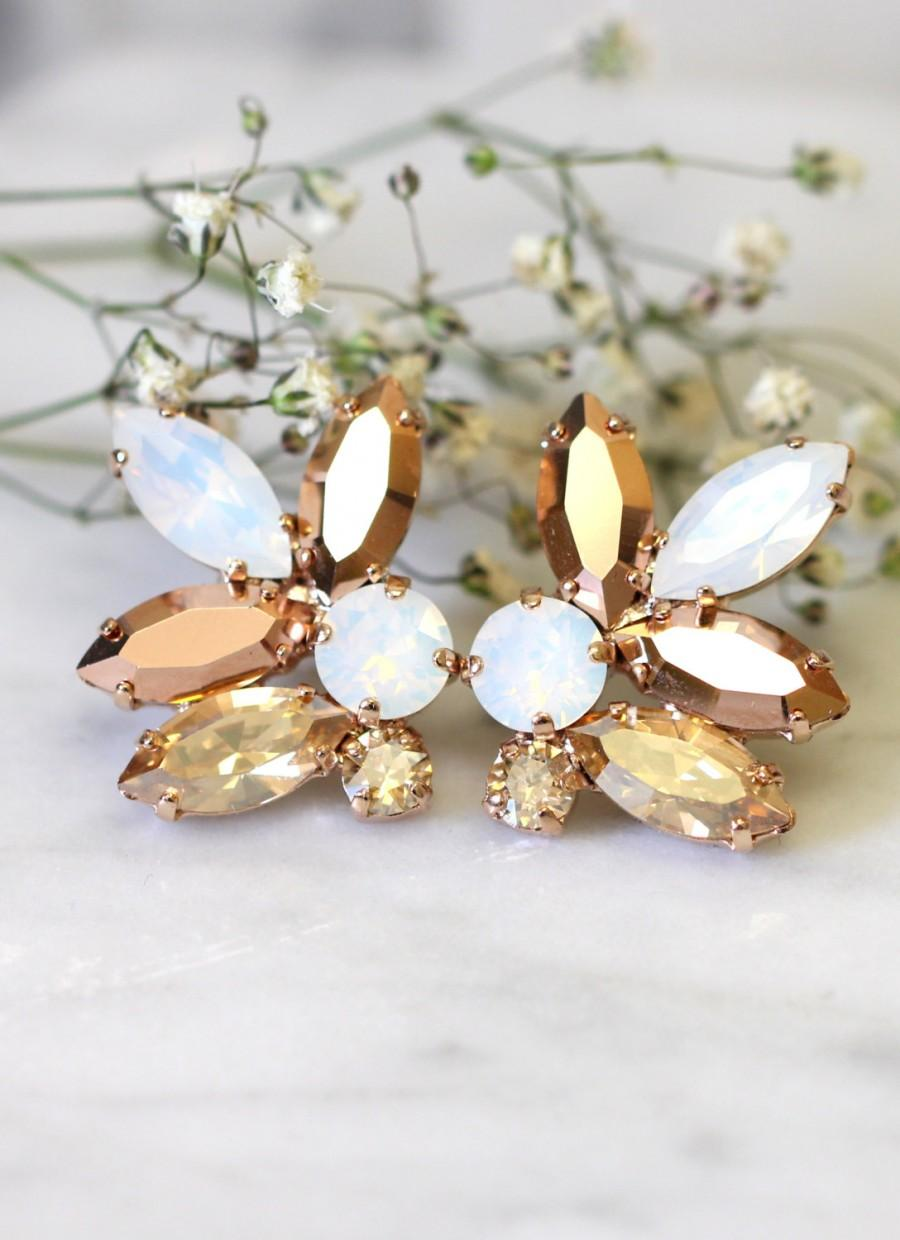 Rose Gold Champagne Cluster Earrings,swarovski Crystal Earrings,bridal Rose Gold  Earrings,bridesmaids Earrings,white Opal Champagne Studs