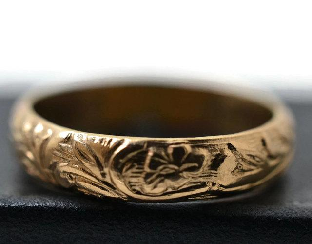 14K Gold Filled Ring Renaissance Style Floral Wedding Band Engagement Fill Jewelry Ornate