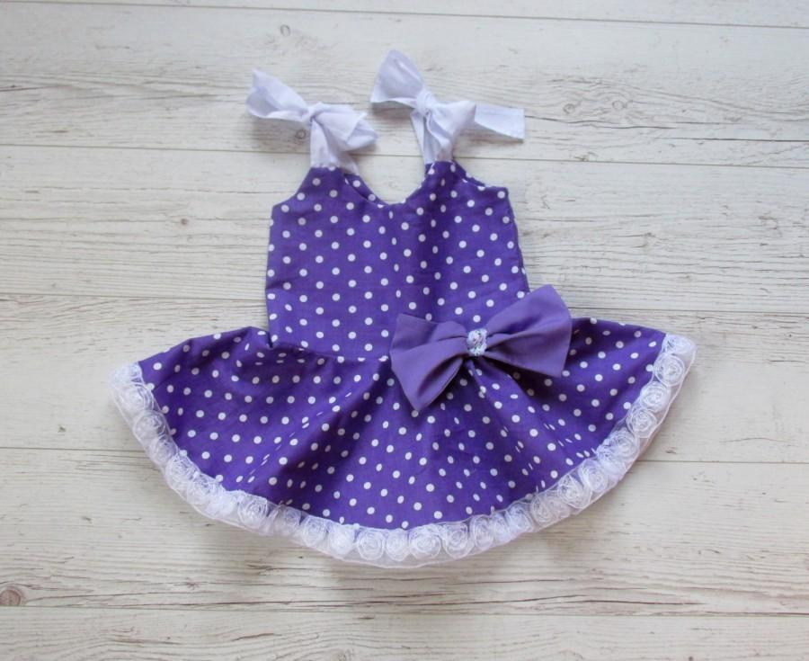 Hochzeit - Birthday dress, girls purple dress, polka dots dress,  baby sundress,  summer dress, girls party dress, party dress, purple party dress