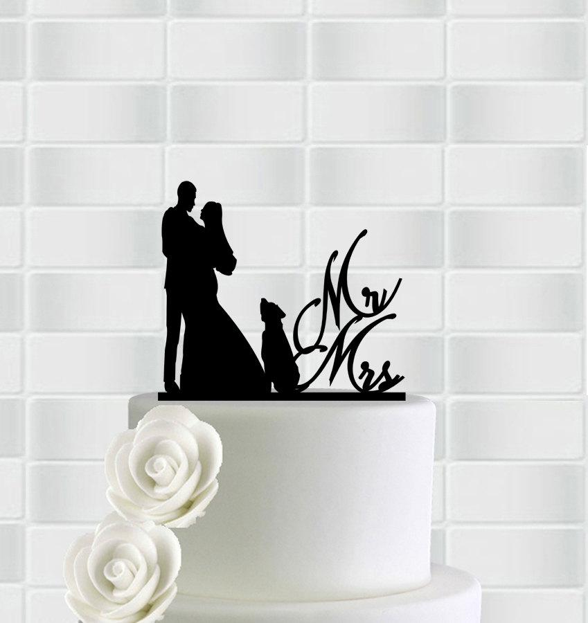 Свадьба - Mr And Mrs Cake Topper With Dog, Dog Wedding Cake Topper,Dog Cake Topper,Custom Cake Topper,Cake Topper With Dog, Couple Cake Topper Dog