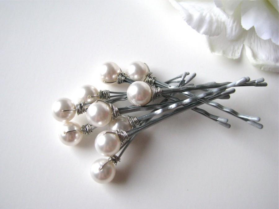 Свадьба - Bridal White Hair Pin Pearl Set of 10, 10mm Swarovski