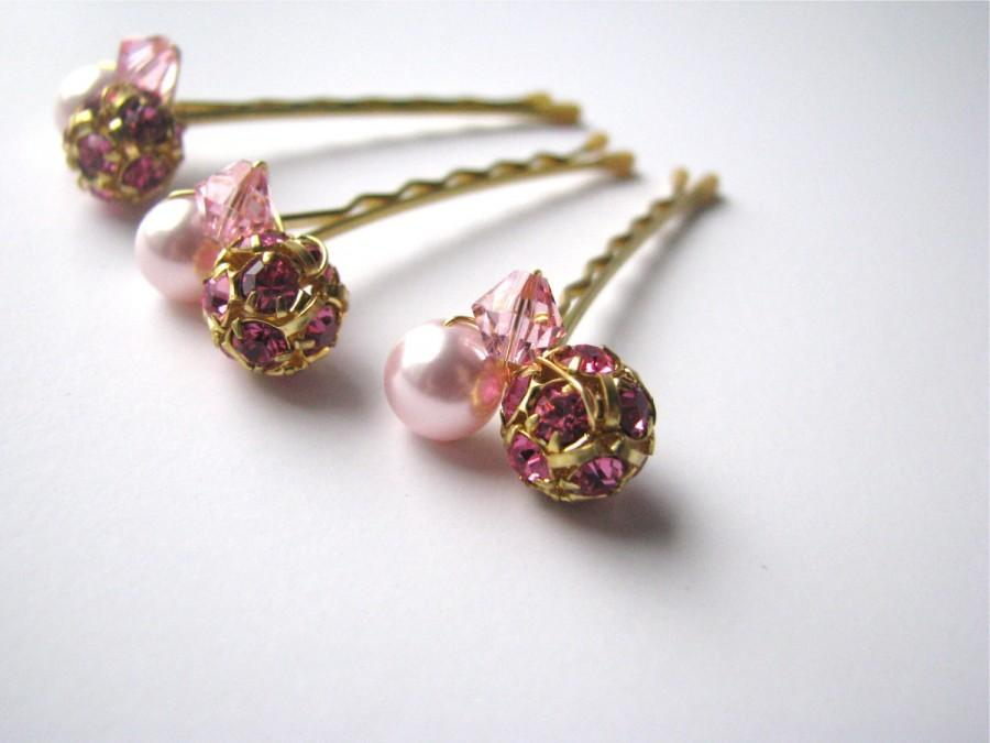 Свадьба - Pink and Gold Hair Pins, Swarovski Crystal and Pearl Clusters, Wedding Bobby Pins