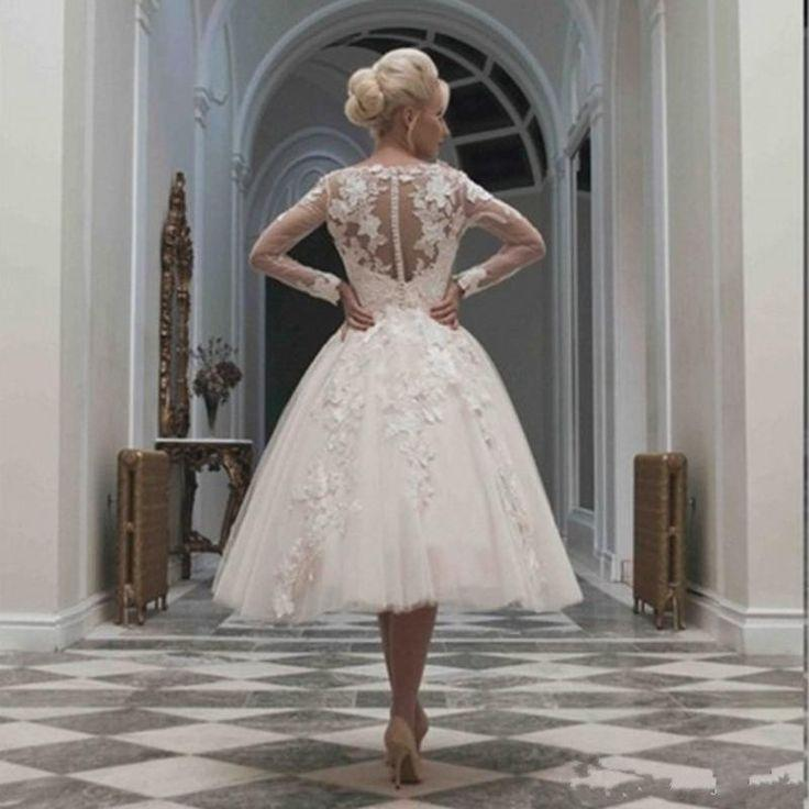 زفاف - Elegant Ivory Lace Long Sleeves Tea Length Wedding Dress