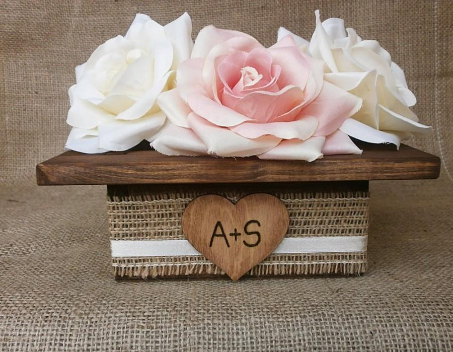 Mariage - Wedding Wood Planter Box Center Piece with Rustic Burlap Ribbon Custom Wood Heart Tag Garden Party Utensil Holder