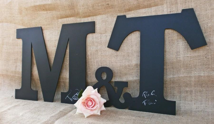 Large Chalkboard Letters And Ampersand Alternative Wedding Guest Book Puzzle Home Decor