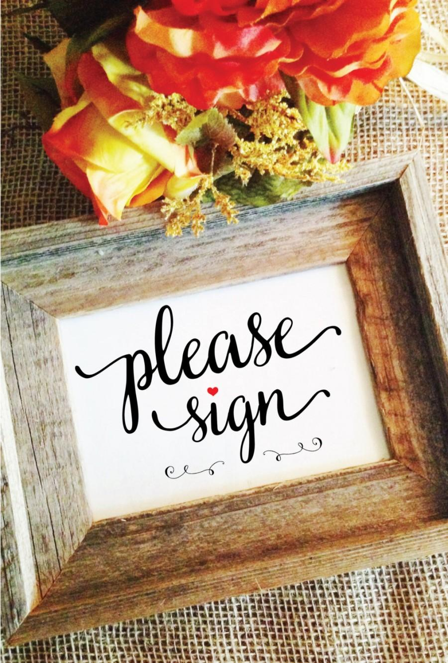 Mariage - red heart - please sign rustic wedding sign (Lovely) (Frame NOT included)