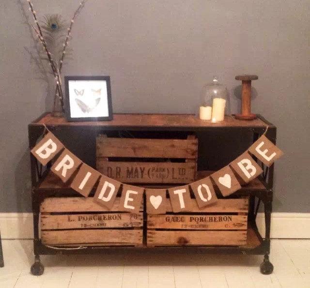 Свадьба - BRIDE TO BE Hessian / Burlap Bunting banner