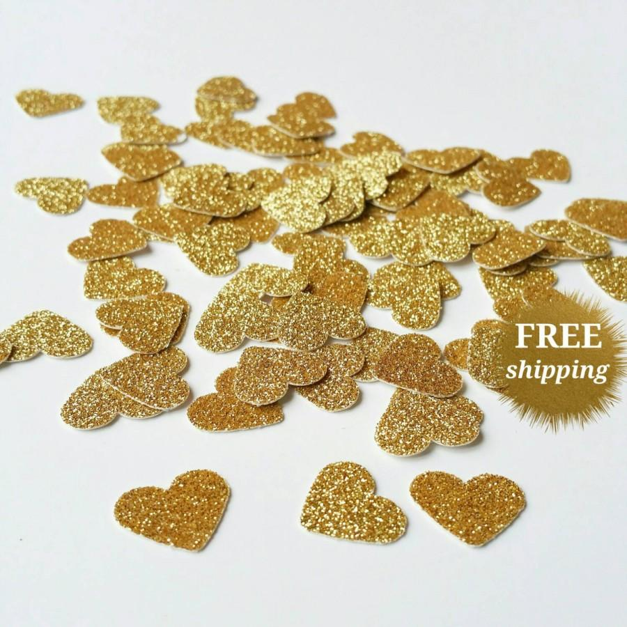 Свадьба - Gold Heart Confetti Gold Glitter Heart Confetti Gold Paper Hearts Glitter Gold Confetti Gold Wedding Table Scatter