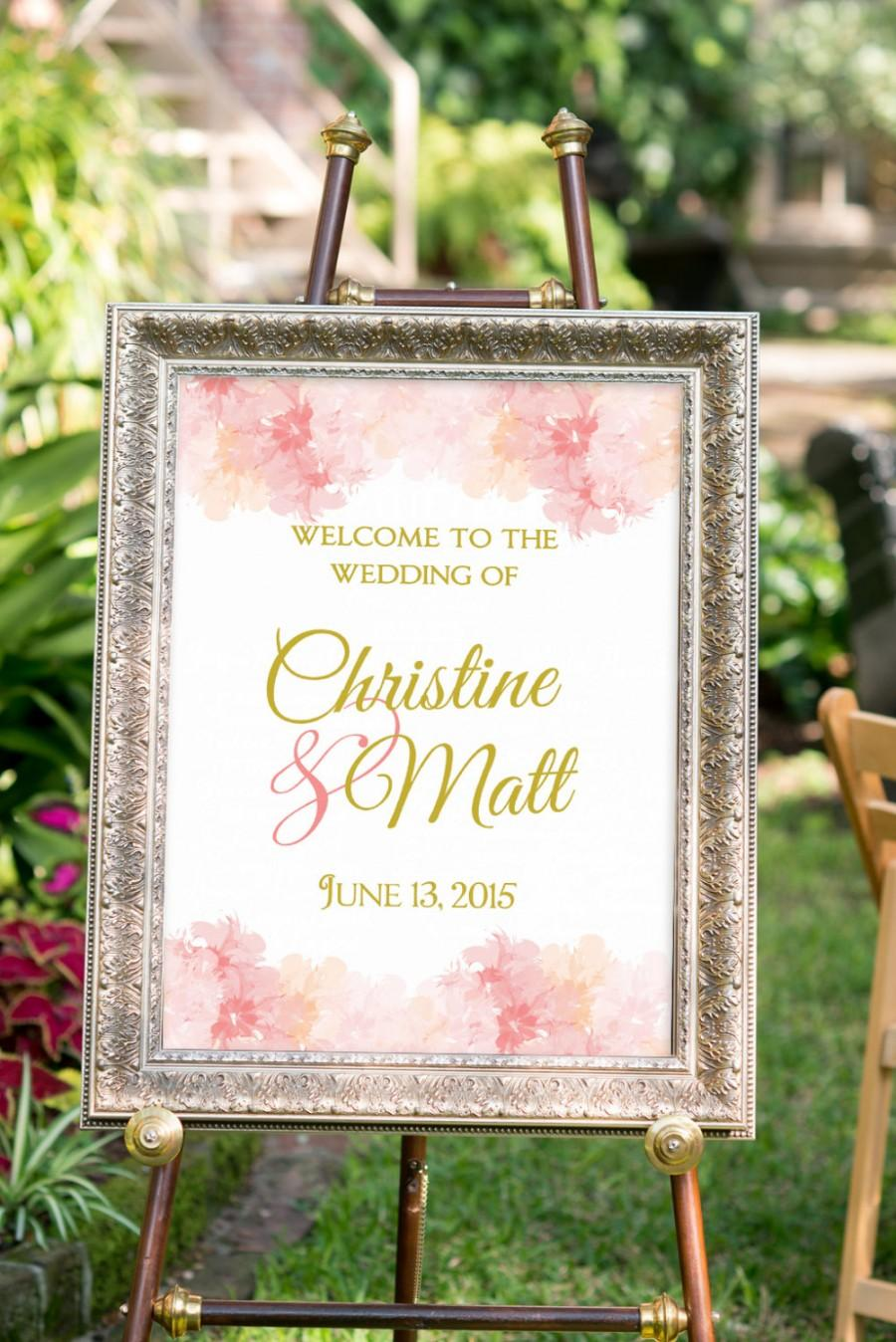 Wedding Sign Printable, Summer Wedding Decor, Blush And Gold Wedding ...