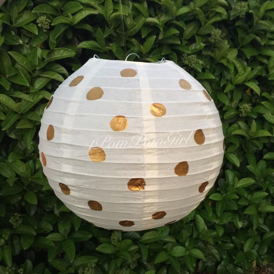 Свадьба - PAPER LANTERN / 1 paper lantern with gold polka dots / wedding lanterns, birthday, nursery, bridal shower, baby shower