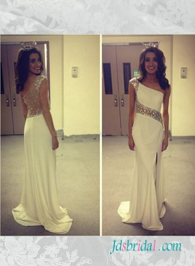 Wedding - PD16086 Beautiful sparkly sheer back one shoulder ivory slit prom dress