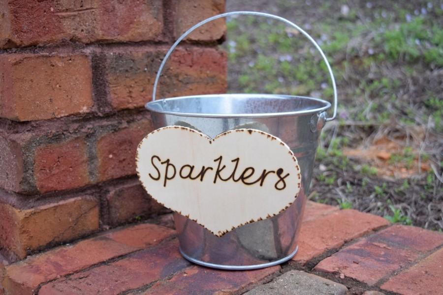 Hochzeit - Wedding Sparklers Bucket - Rustic Wedding - Large Sparkler Bucket - Program Bucket - Sparklers Pail - Sparklers Basket