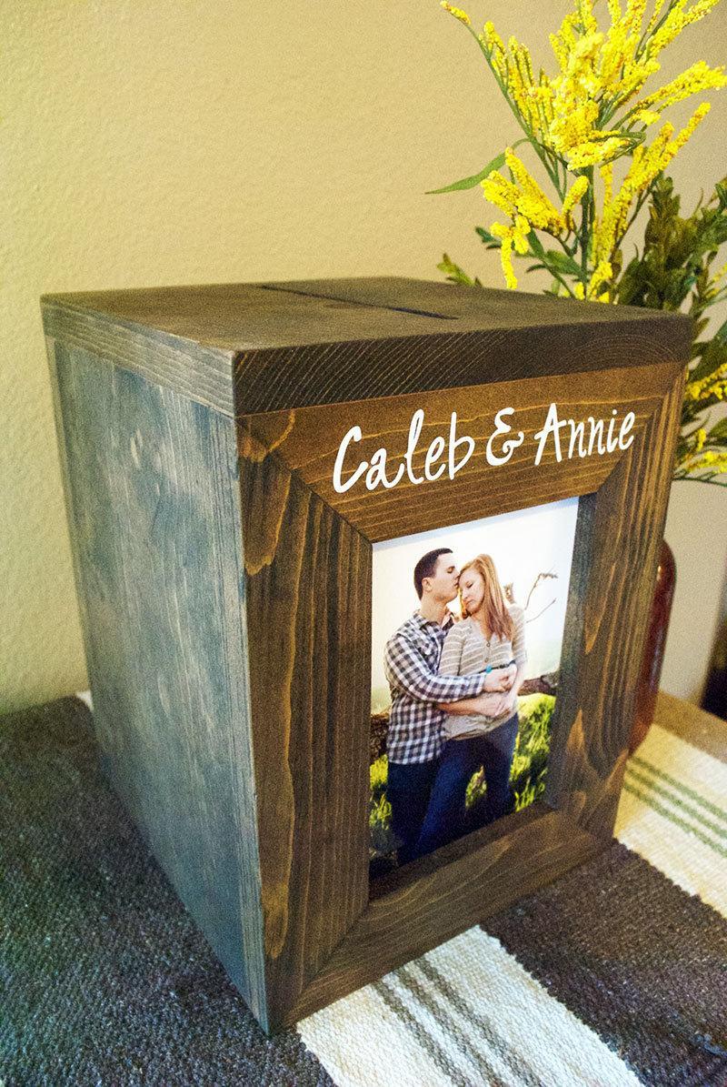 Mariage - Wedding Card Box, Rustic Photo Framed card box, Personalized wedding card box, Money Box, Card Box, rustic wedding, wedding card holder