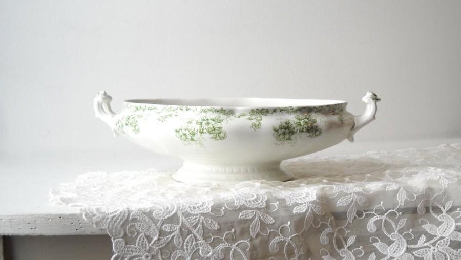 Mariage - Antique Weatherby Semi Porcelain Vegetable Bowl, Trentham Green Transfer Ware,  Hanley England