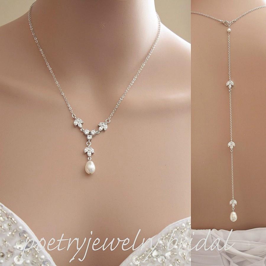 Hochzeit - Back Drop Bridal Necklace Pearl Crystal Bridal Necklace Wedding Pearl Crystal Necklace Backdrop Necklace Simple Necklace, Leila