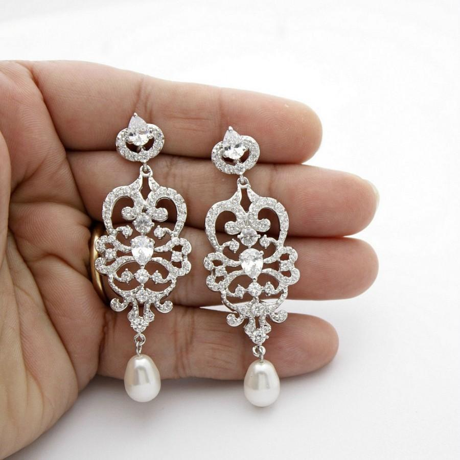 Bridal chandelier earrings vintage style chandelier wedding bridal chandelier earrings vintage style chandelier wedding earrings pearl cubic zirconia bridal jewelry long pearl drop earrings victoria arubaitofo Images