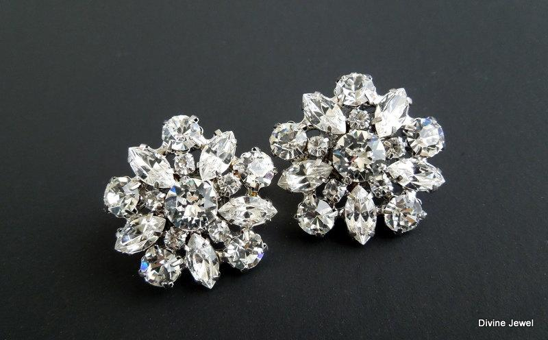 Bridal Earrings Vintage Style Rhinestone Stud Statement Crystal Bride Savannah