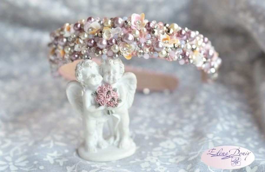 160ce8a9ae2e Caramel hair gewelry Crystal bridal headpiece Pink crown pearl tiara Ivory  wedding crown Wedding Beaded headband Pastel Hair Accessory