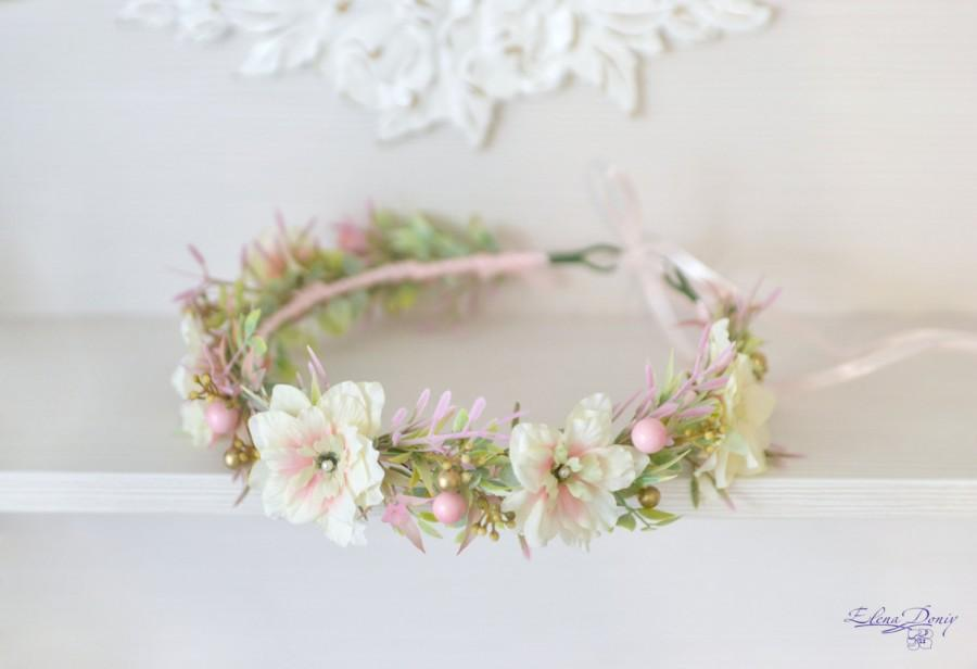 Light Pink Gold Wedding Flower Crown Pastel Flower Halo Cream Pink