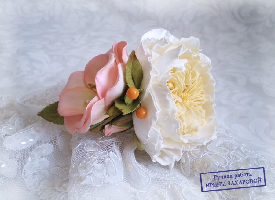 Свадьба - David Austin Rose Нeadband Floral Girl hair Foamiran Vintage Flower Crown Floral Wreath HeadBand Garden Wedding  White Bridal Hair
