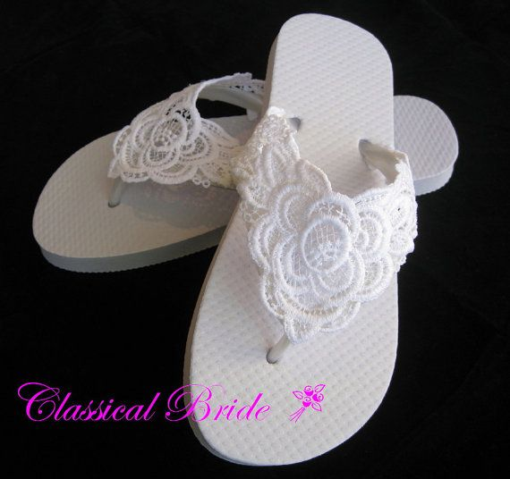 85cb14ad20b LACE EMBROIDERED Wedding Bridal Flip Flops In Ivory Or White For Wedding  Party Bride Bridesmaid Maid Of Honor Beach Flip Flops Sandals Shoes