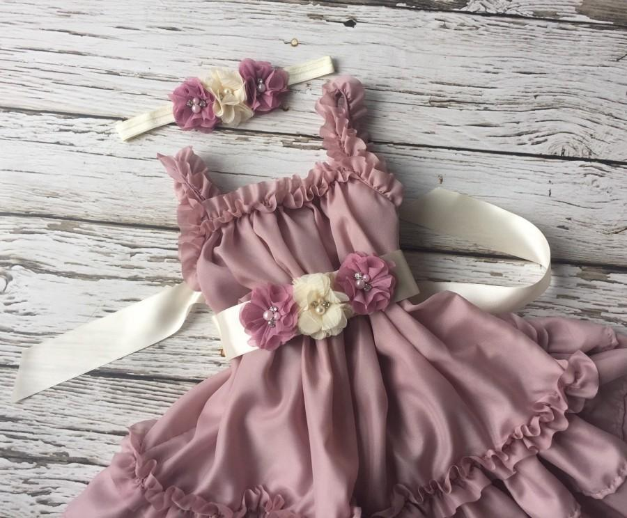Girls Dress Dusty Rose Birthday Outfit Toddler Pink 2nd Flower Girl