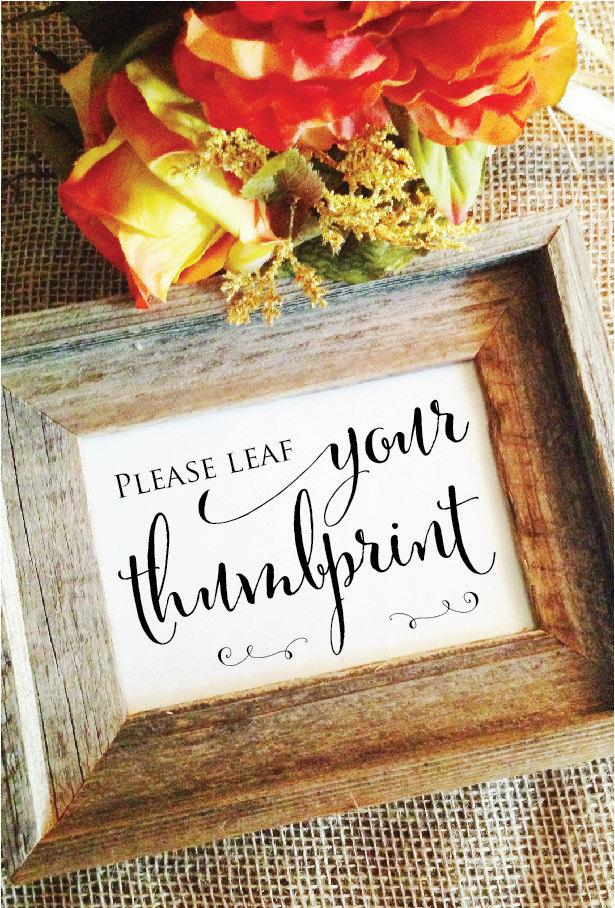 Mariage - Please LEAF your thumbprint- Wedding thumbprint tree guest book Thumbprint Guestbook sign (Stylish) (Frame NOT included)