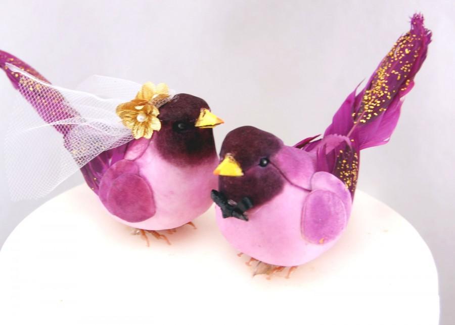 Mariage - Fancy Finch Wedding Cake Topper in Deep Purple: Bride and Groom Love Bird Cake Topper -- LoveNesting Cake Toppers