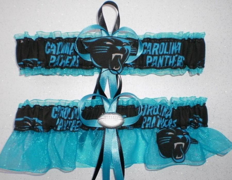 bd64272c4303 Carolina Panthers Fabric Logo Wedding Garter Set Prom Football Charm  Turquoise Organza.