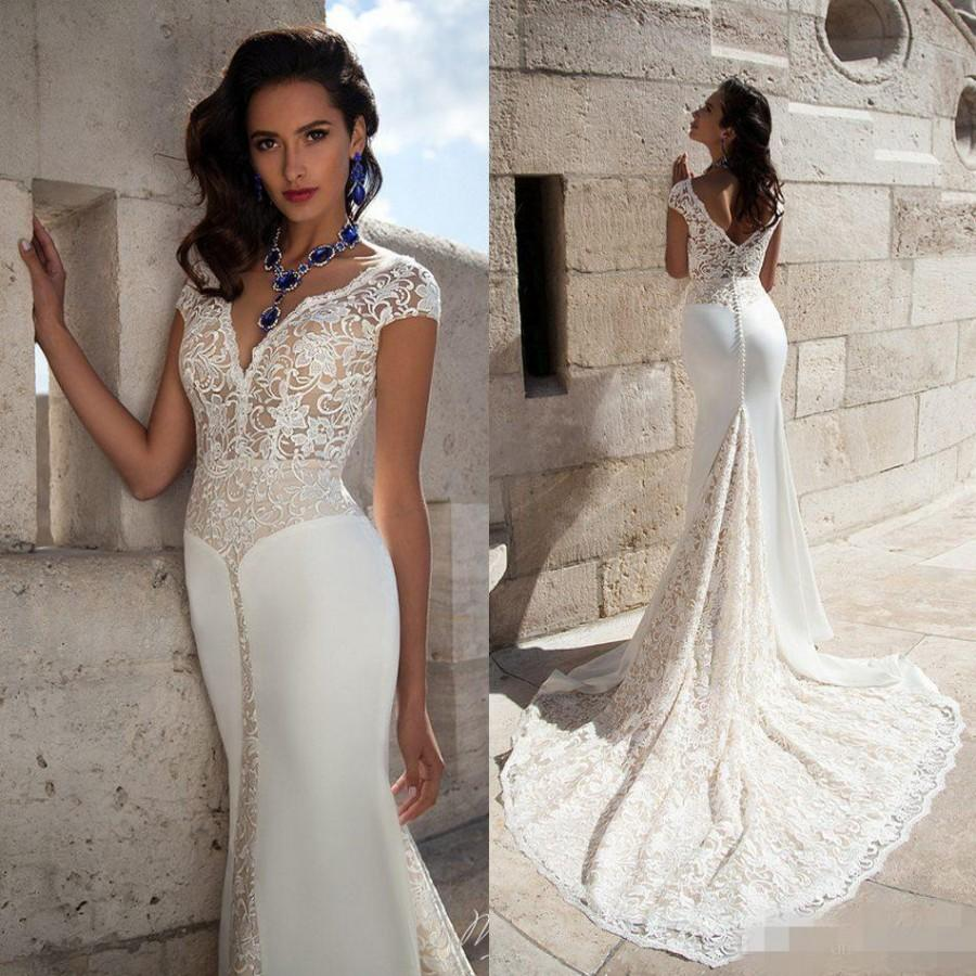 Elegant V Neck Wedding Dresses Cap Sleeve 2016 Full Lace Mermaid Wedding Gown