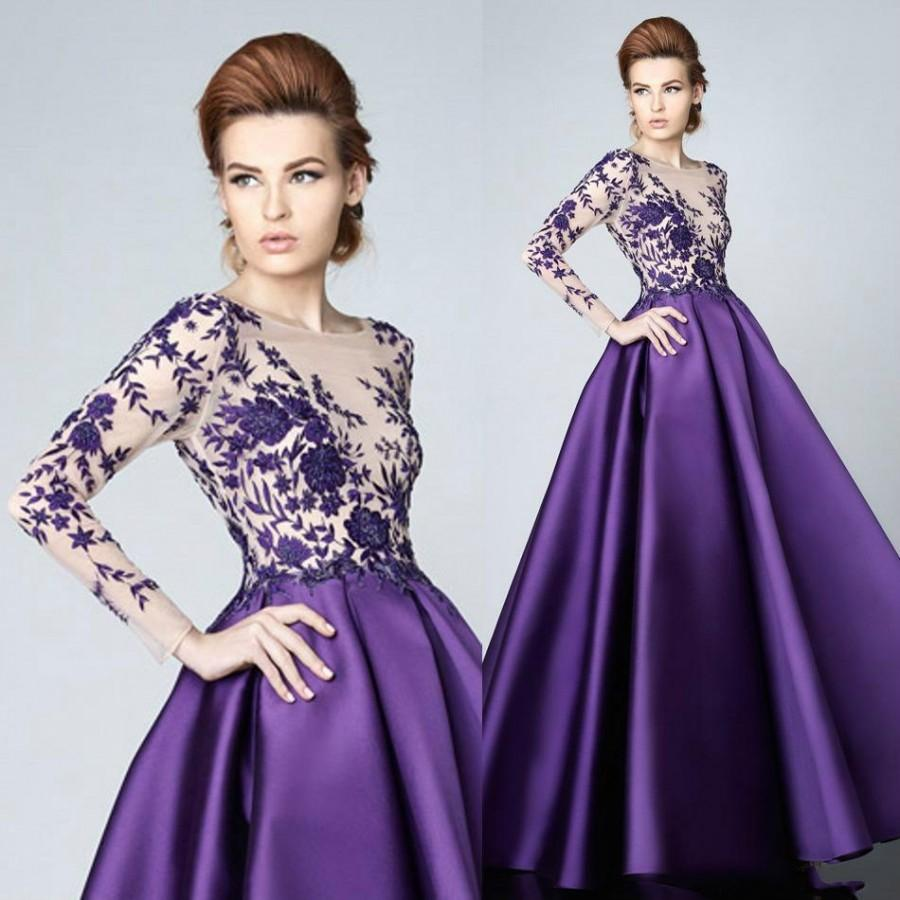 Purple Gowns For Weddings | Fashion Purple Long Sleeve Mother Of Bridal Dresses Applique 2016 A