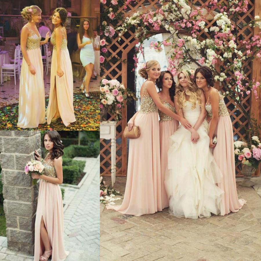 Свадьба - Sexy Side Split Beads Bridesmaid Dresses Crystal Sheer V Neck Long Party Dress Ball Prom Chiffon Formal Evening Gowns Online with $105.25/Piece on Hjklp88's Store